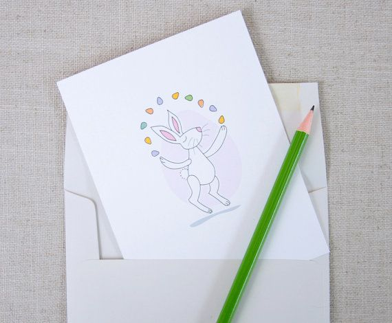 Easter Card // Juggling Easter Bunny // Happy Easter by acbcDesign, $5.00