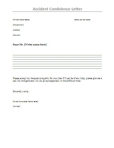 Sympathy Letter for Accident - Writing a sympathy letter or note of condolence can be hard.