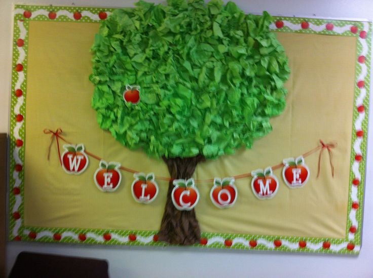 Apple Tree Classroom Ideas ~ Back to school bulletin board i added apples with each