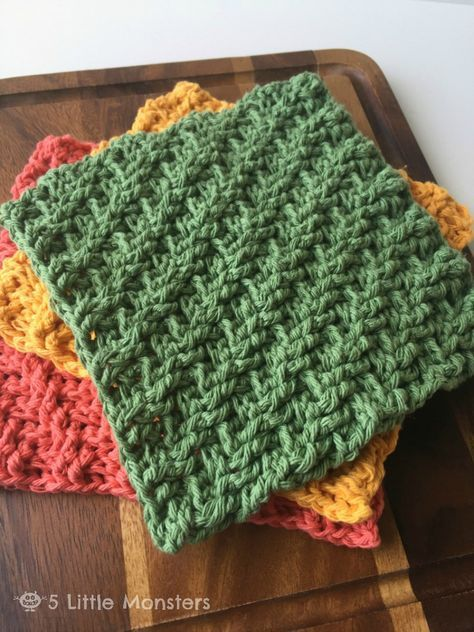 "5 Little Monsters: Diagonal Weave Crochet Dishcloths"" FREE pattern"
