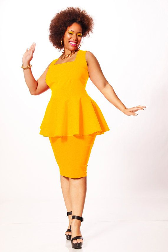 JIBRI Plus Size Peplum Top- Square Neckline - NOT a fan of yellow but loooove this style