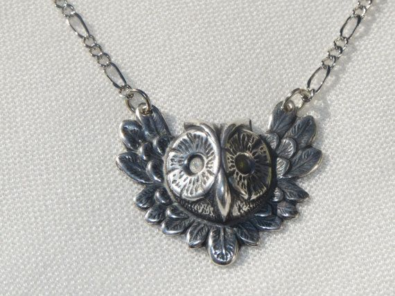 Owl Necklace Owl Jewelry Owl Head Feathered Owl Owl by Thielen