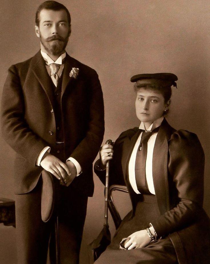 Tsar Nicholas II and his wife, Tsarina Alexandra Feodorovna, 1895.