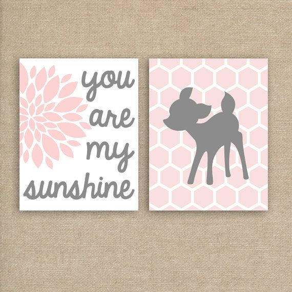 Woodland Deer Nursery Art Prints - Nursery Prints You Are My Sunshine Set of Two 11x14 Inch on Etsy, $40.00