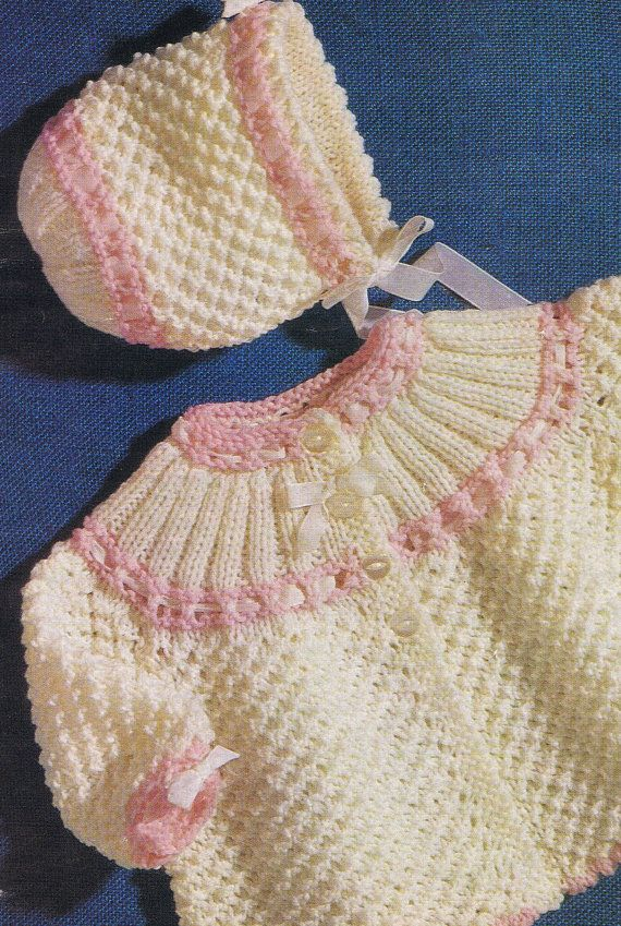 Instant Download 301. Knitted Matinee Jacket and bonnet Knitting Pattern - PDF -  EMail download keep baby warm