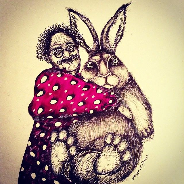 Прикол фото заяц ставит рожки зайцу рисунок