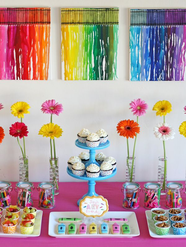 Rainbow Art Birthday Party- by Glorious Treats -- this has really cute ideas for crafts, food, decorations, and treat containers.  And all very easy to do yourself!