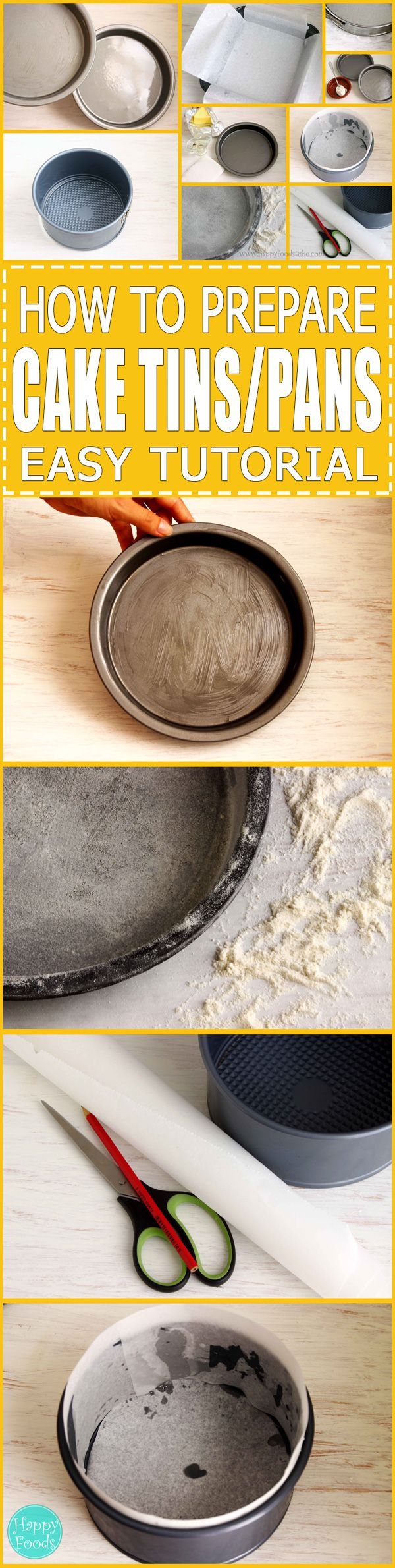 How to Prepare Cake Tins - Quick tutorial how to prepare your cake tins/pans before baking. 3 different ways! | happyfoodstube.com