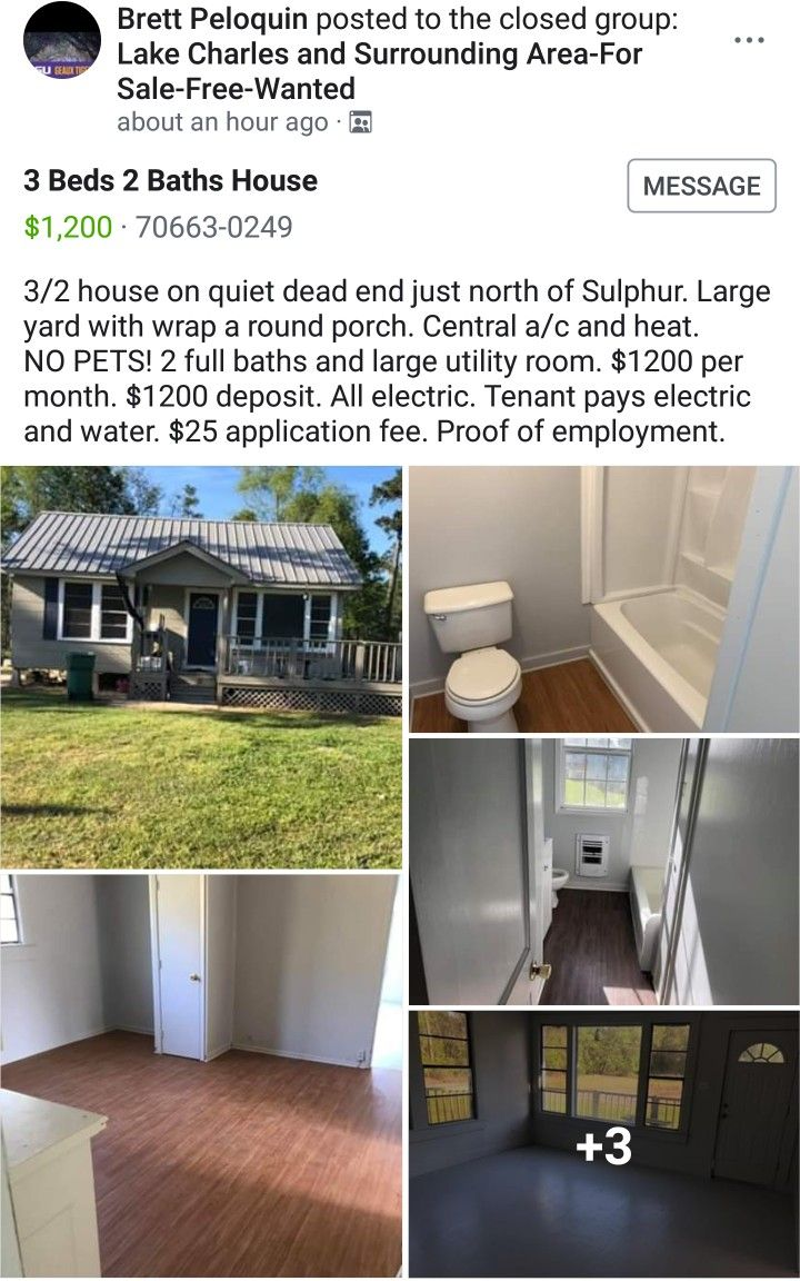 4 1 2019 I M Just Posting This To Show How Much People Are Asking For Rent On Houses House Large Yard Bath House