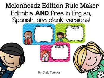 """FREE!! Editable Melonheadz Classroom Rules *English, Spanish.....Follow for Free """"too-neat-not-to-keep"""" teaching tools & other fun stuff :)"""