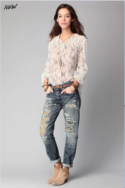 Jean girlfriend dévoré Fiske Bleu Denim and Supply by Ralph Lauren prix Jeans Monshowroom 195,00 €