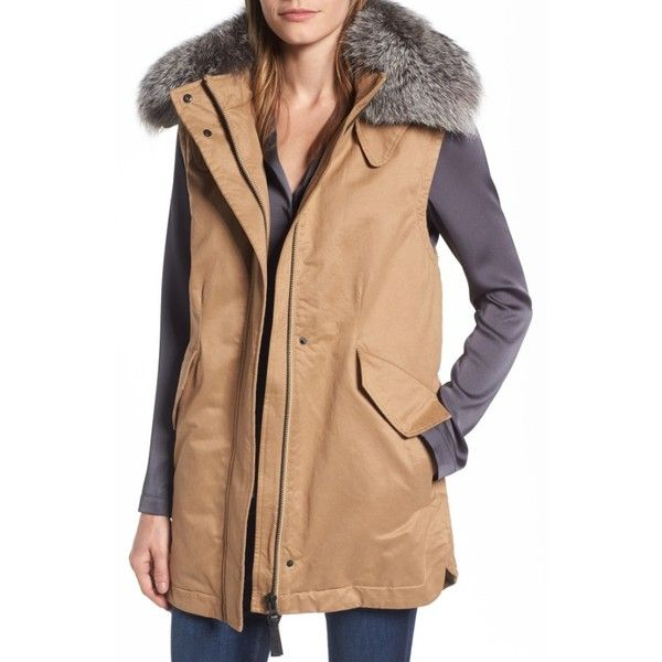 Women's Derek Lam 10 Crosby Genuine Fox Fur Trim Long Vest ($299) ❤ liked on Polyvore featuring outerwear, vests, khaki, 10 crosby derek lam, long vests, khaki vest, vest waistcoat and beige vest