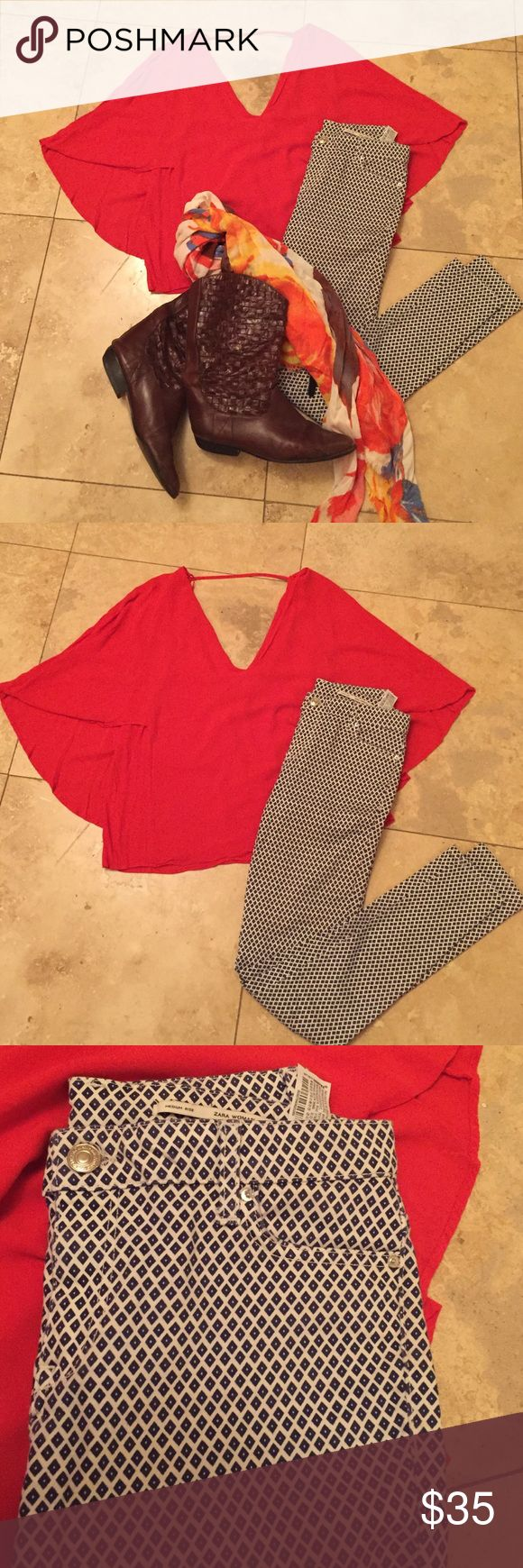 Zara orange batwing crop top & blue pattern pants Excellent used condition, purchased in Canada. Size 4 navy/white pants and small orange top. Zara Other