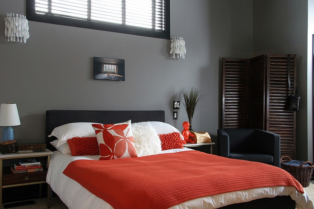 Medium Gray Walls W Red Accents Paint Colors Painting Pinterest