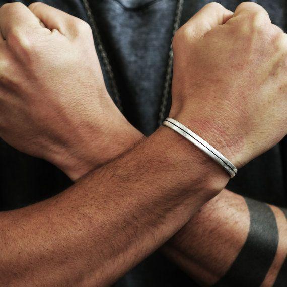 Silver Bracelet Cuff Mens Line Bangle Oxidized Matte Finish