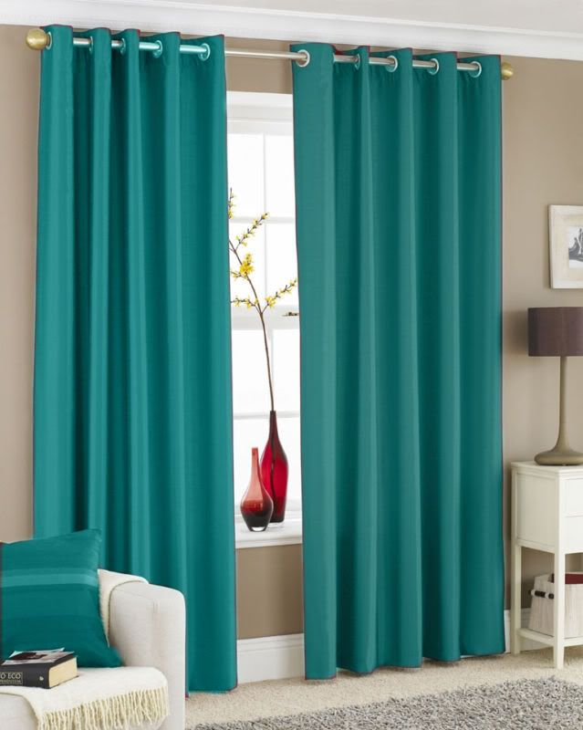 turquoise curtain panels   PAIR OF FAUX SILK CURTAINS Eyelet / Ring Top   eBay