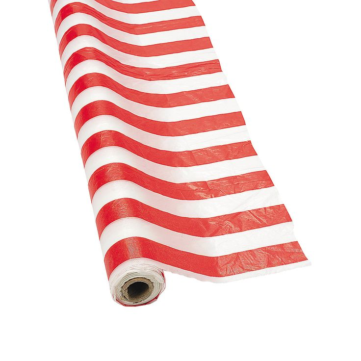 Red & White Striped Tablecloth Roll - OrientalTrading.com  Just like in the picture Julie pinned!