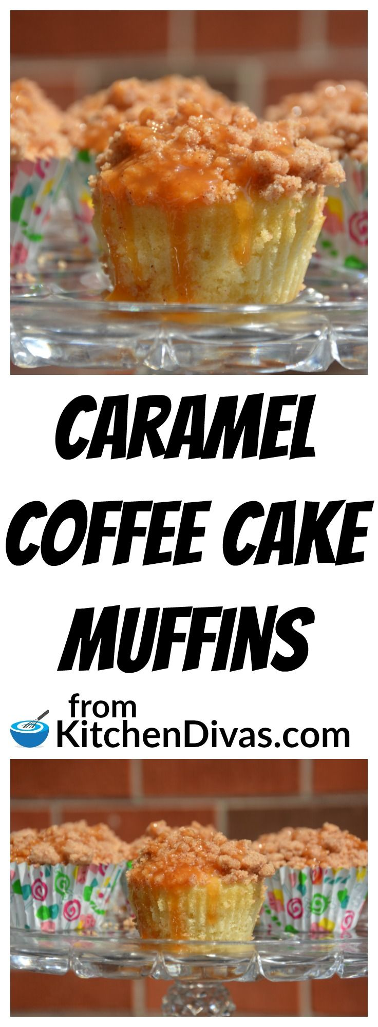 These muffins are amazing!  They disappear so quickly we always have trouble getting a photo!  The streusel topping and the caramel go perfectly together.  This recipe for Caramel Coffee Cake Muffins satisfies every time!