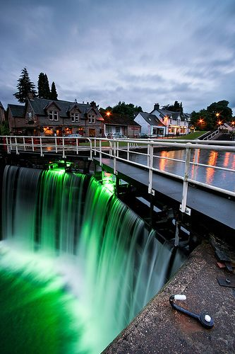 Locks on the Caledonian Canal in Fort Augustus, Scotland.