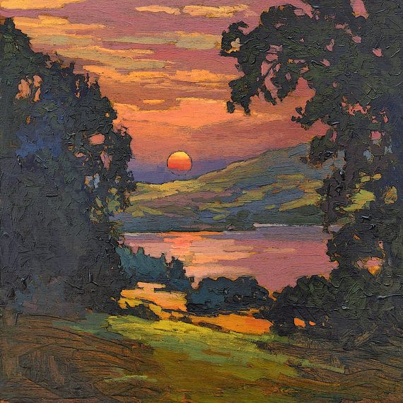 In My Dreams - Arts and Crafts CRAFTSMAN - Matted Giclee Art PRINT Sunset 12x12 by Jan Schmuckal