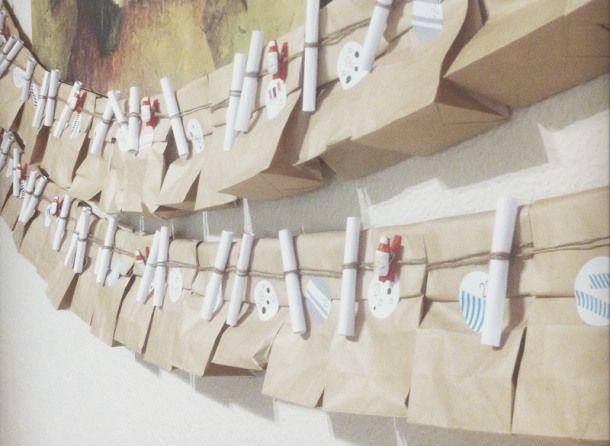 calendario de adviento con bolsas kraft