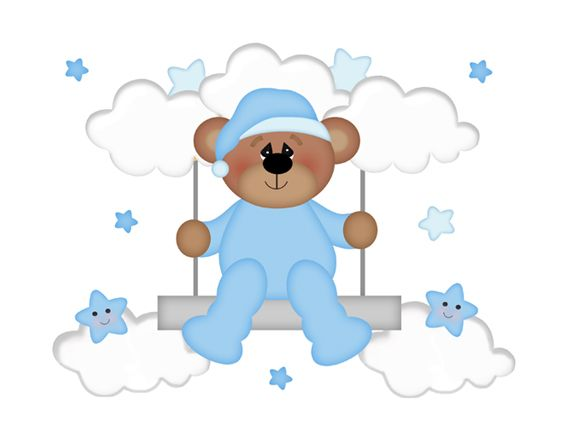 Teddy Bear Mural Wall Decals Star Moon Clouds Boy Nursery 2