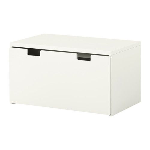 IKEA Stuva storage bench in white, birch, blue, green or pink $99; drawer comes out of bottom & top becomes a work space when pull up a stool/chair to it; can sit on the top of it for a cozy reading spot or use it as a table to play cars/do a puzzle