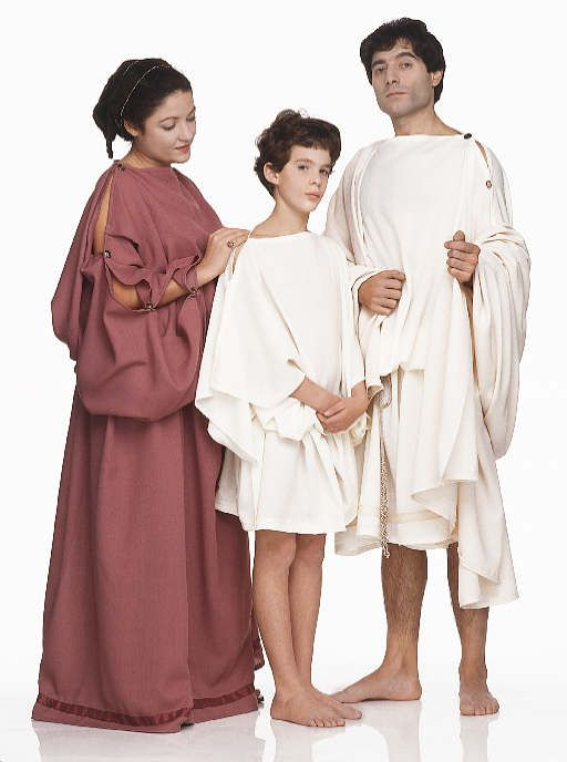 Fairly accurate Greek clothing, including man with himation as well as tunic.