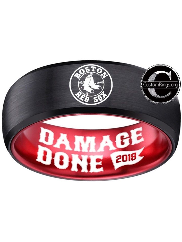45398162 Boston Red Sox Ring Black and Red ring World Series Do Damage Damage Done  2018 Ring Tungsten Ring, sizes 6 - 13 available. Customize with a special  name, ...