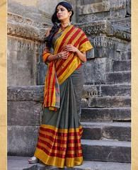 Grey, Yellow & Red Color Blended Cotton Casual Party Sarees : Karunya Collection  YF-43394