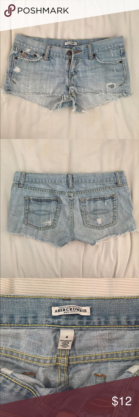 Abercrombie & Fitch Shortie Jean Cutoff short sz 4 Great pair of jean shorts, previously loved. Perfectly distressed, light jean wash, size 4. Abercrombie & Fitch Shorts Jean Shorts