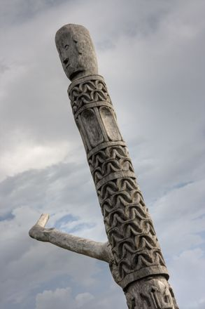 Carved post on cattle stall in the Kodi region of Sumba, Indonesia