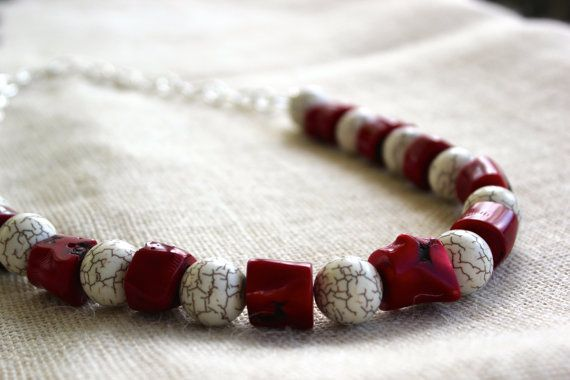 Fabulous Red Coral and Howlite Necklace by SoulHealingCreations
