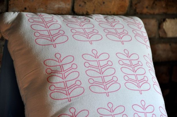 Big Decorative Pillow: Modern Design Throw Pillow, Pink and White, Pyrex Stems Design, All Cotton Hand Screen Printed Eco Friendly Ink by Fresh Pastry Stand on Gourmly