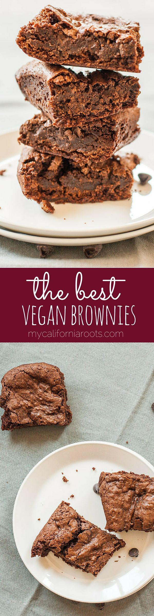 These are THE BEST vegan brownies I've ever had. In fact, I think they just might be the best I've everhad, period! Crunchy top with chewy centers. Totally perfect!