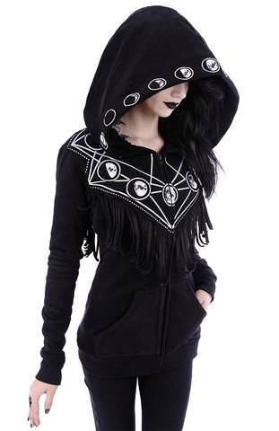 Gothic Girl Coven Collection by Skelapparel This awesome hoodie features oversized hood with Moon phases print on it's edge, geometric moon phases print on front and back, and the moon galaxy triangle