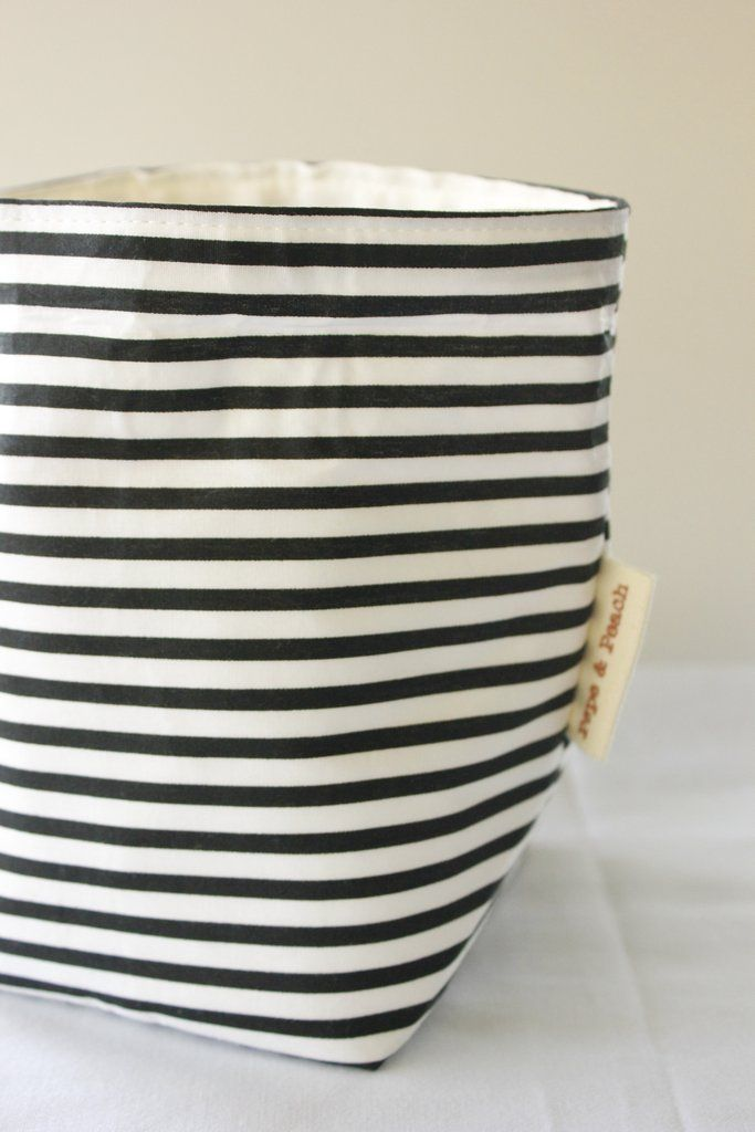 Fabric Basket, Home and Office Storage, Nursery Organizer, Black and White Stripes