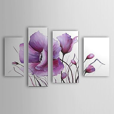 Hand Painted Oil Painting Floral Modern Flowers Set of 4 with Stretched Frame 1307-FL0162 – USD $ 139.99