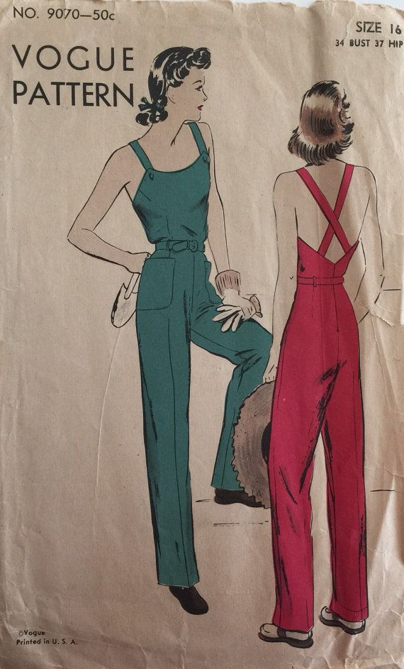 Vintage Sewing Pattern 40s Vogue 9070 Overalls by StudioMariLaura