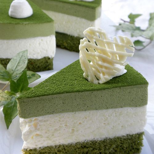 A fluffly mousse cake that pairs slightly bitter green tea with white chocolate. The green tea and white mousse present a beautiful contrast in colors, too.