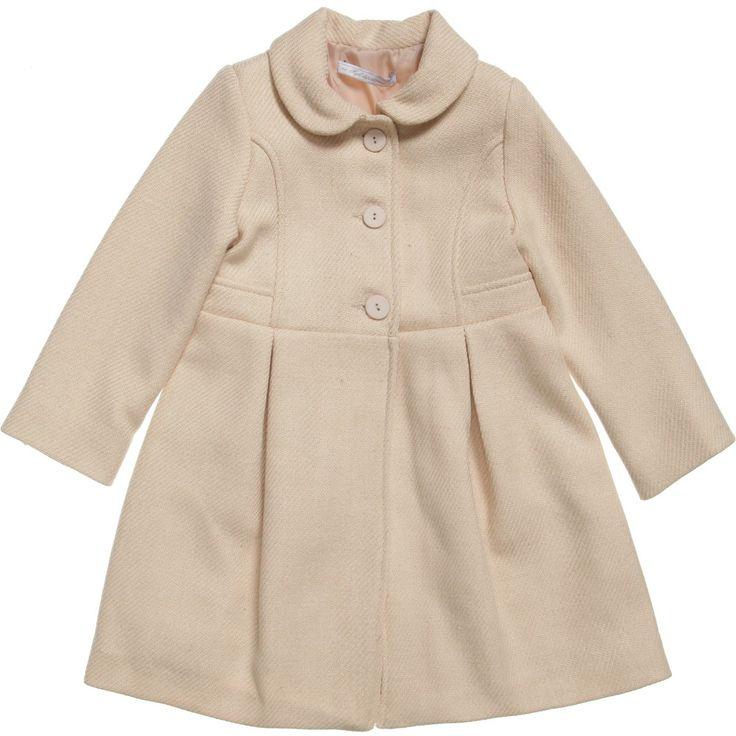 #Mayoral Girls Dark Ivory Wool Coat