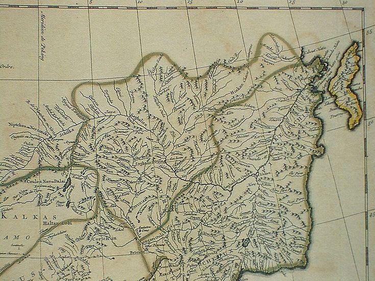 XVIII wieczna francuska mapa Chin sporządzona przez D'Anvillea, gdzie Ałbazin oznaczony jest jako Jaxa