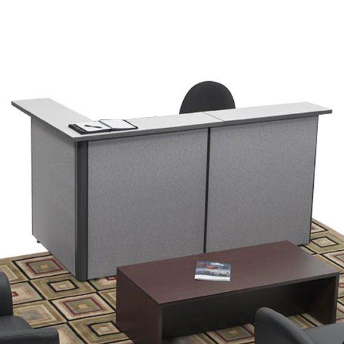 Pewter Haze Reversible Reception LDesk Pewter Haze/Charcoal/Silvercast by Storlie. $1133.00. Storlie Space Max small reception Ldesk is designed in 21/4'' thick, tackable 42'' high panel walls in Pewter Haze designer fabric, complemented by 1'' thick commerical grade table and counter tops in attractive Silvercast finish, trimmed in 3mm charcoal edging.Reception desk features corner counter top, 72''x24'' table top, three 42''H panels, and a three drawer file. File uni...