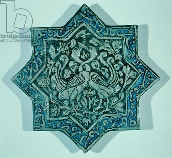 Star-shaped overglaze leaf-gilded tile in the style of Takht-e Solaiman, 13th-14th century (ceramic)