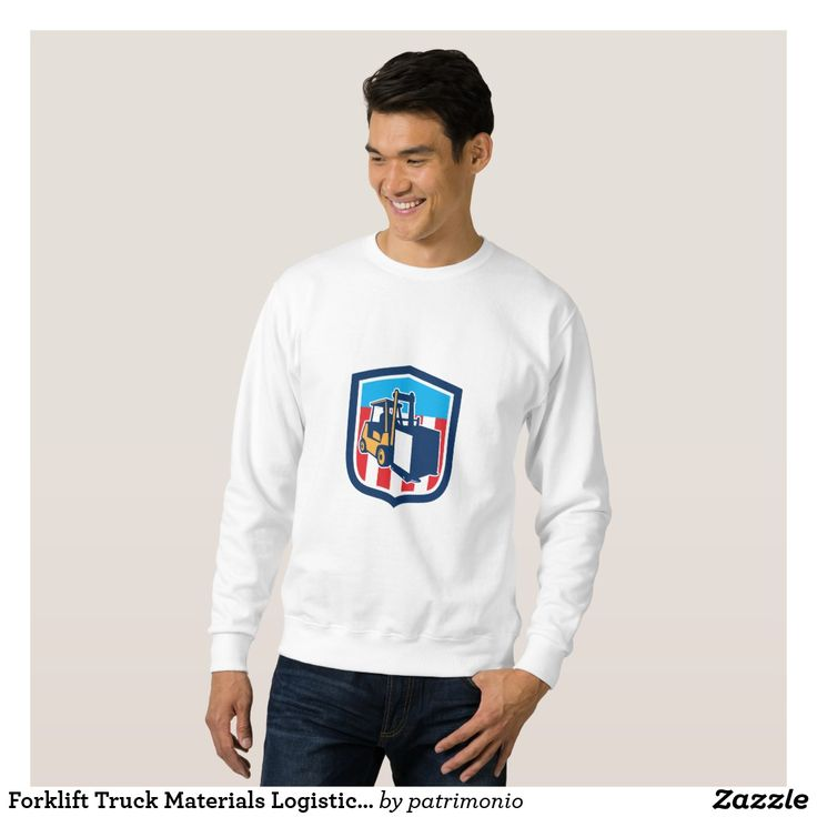 Forklift Truck Materials Logistics Shield Retro Sweatshirt. Men's customizable sweatshirt with a retro style illustration of a forklift handling a crate set inside a shield with stripes. #sweatshirt #forklift #crate