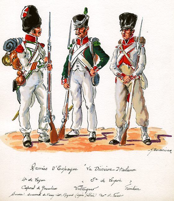 Italy; Italian division in Spain, 4th Line Infantry, Grenadier Corporal & 5th Line Infantry Voltigeur & Fusilier
