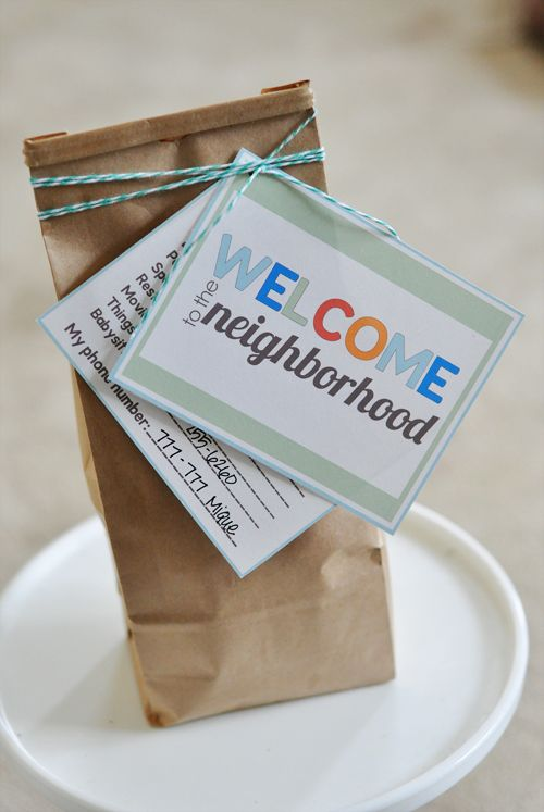 """""""Welcome to the neighborhood"""" package (free printables and ideas): Welcome Gifts, Neighborhood Printables, Cute Idea, The Neighborhood, New Neighbor Gifts, Gifts Idea, Giftidea, Free Printables, Neighborhood Gifts"""