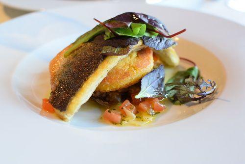 Na Konci - roasted fillet of sea bass with caponata and polenta