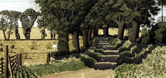 Simon Palmer (British, 1956-) > The Beginning of August | ink, watercolour and gouache, 48.26 x 100.33 cm