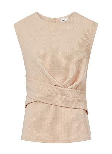 Textured Ponte Wrap Front Peplum Top. Neat fitting sleeveless style features front wrap body with peplum hem in a textured fabrication complete with ponte back body and invisible zipper. Available in various colours as shown.